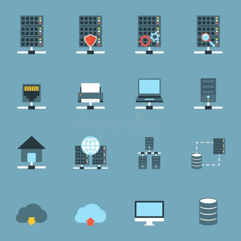 Server som framlänges är värd symboler stock illustrationer