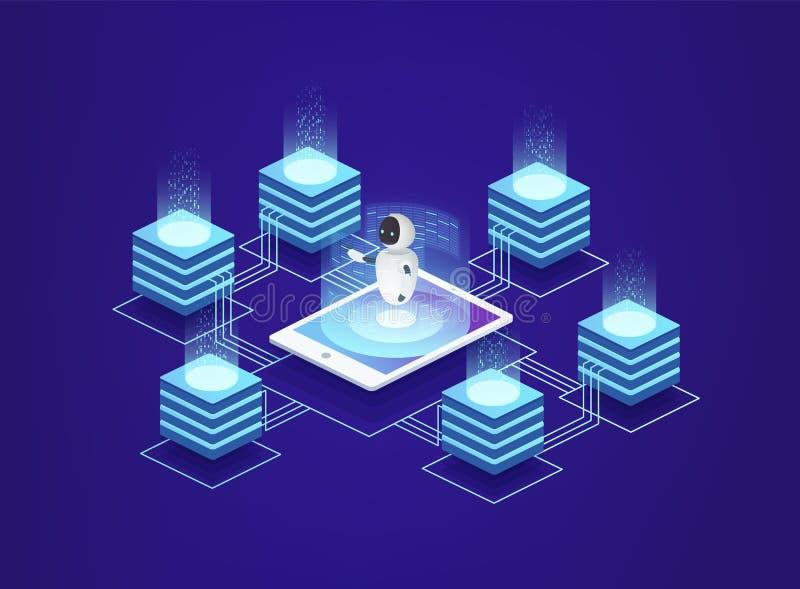 Server station, data center. Digital information technologies under control of artificial intelligence. vector illustration