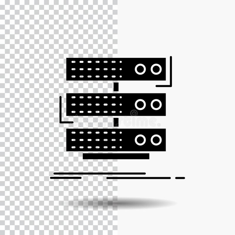 server, storage, rack, database, data Glyph Icon on Transparent Background. Black Icon royalty free illustration