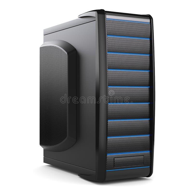 Server tower box. Black desktop PC royalty free illustration