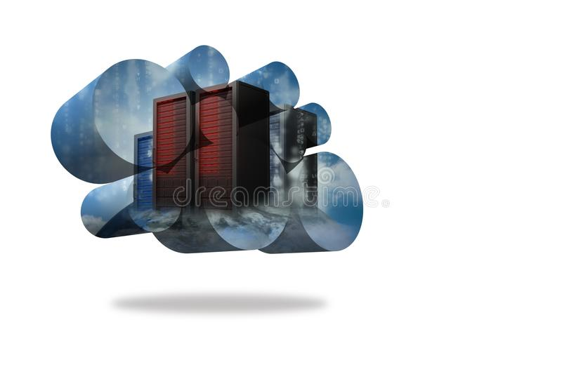 Server towers on abstract screen vector illustration