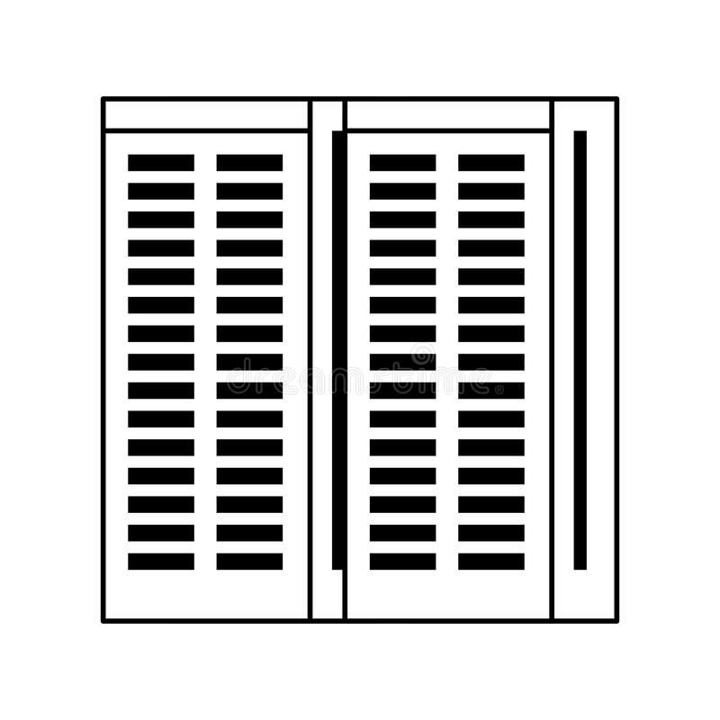 Server towers network hardware cartoon in black and white royalty free illustration