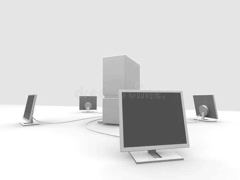 Server und 4 Überwachungsgeräte stock abbildung