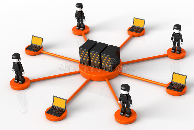 Server und Minitoy Netz stock abbildung
