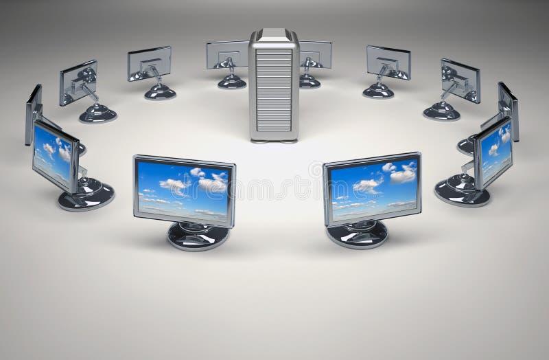 Server und Netz lizenzfreie abbildung