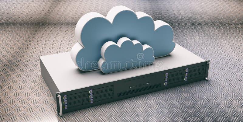 Server unit and computer clouding storage on industrial plate background. 3d illustration. Computer server unit and storage cloud against metal checkerplate vector illustration
