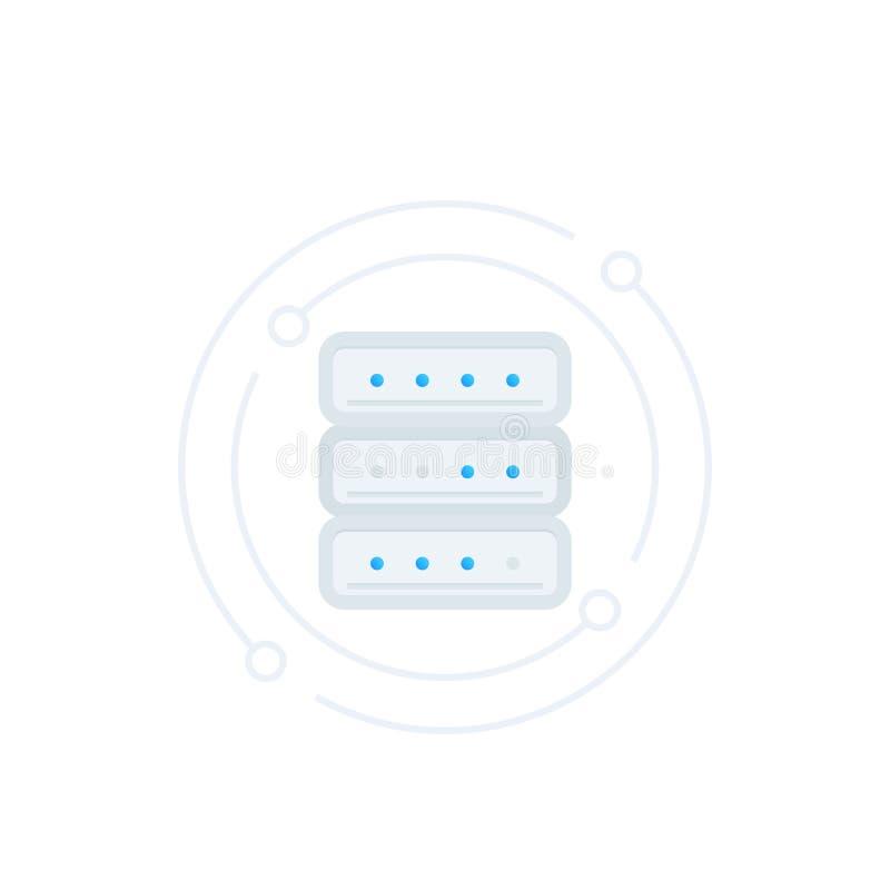 Server värddator, vektorsymbol för varande värd service royaltyfri illustrationer