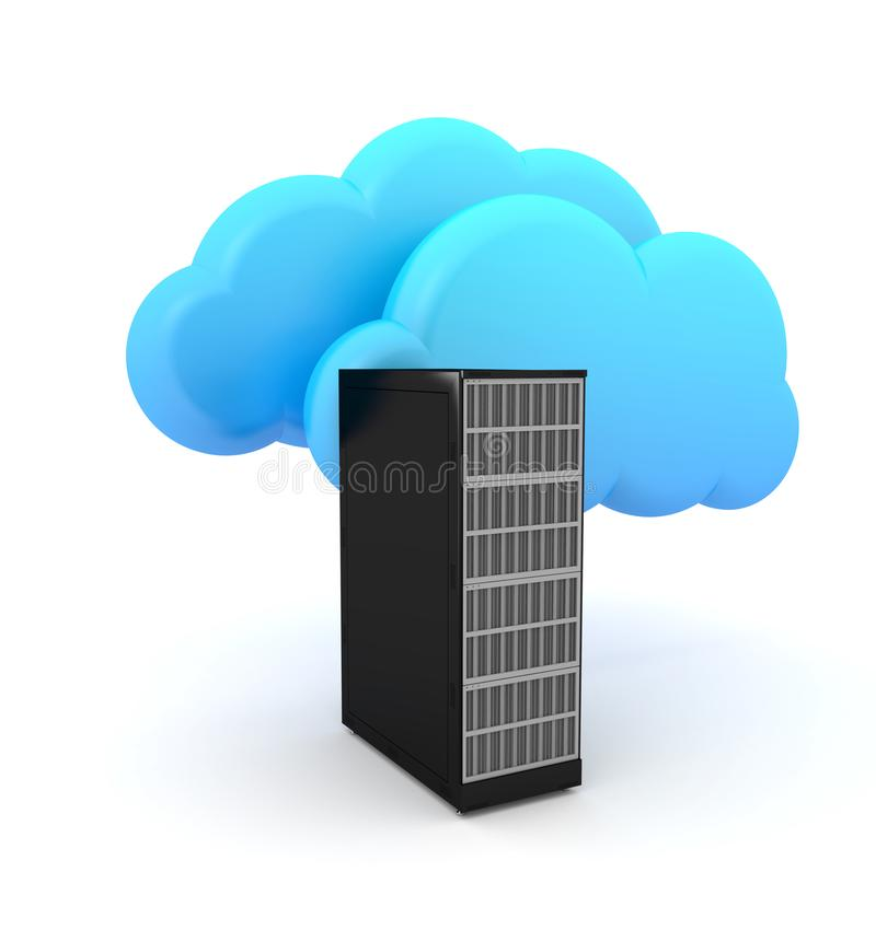 Servercomputer- und -wolkensymbol vektor abbildung