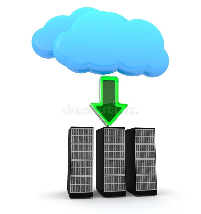 Servercomputer- und -wolkensymbol lizenzfreie abbildung