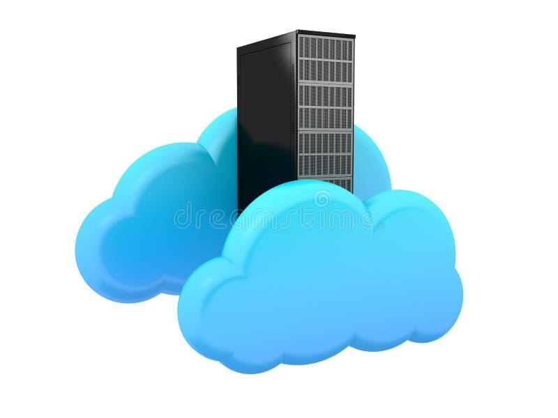 Servercomputer- und -wolkensymbol stock abbildung