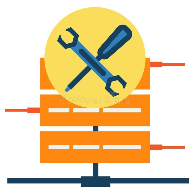 Serverdataunderhåll med den abstrakta symbolen för skruvmejsel och för skruvnyckel vektor illustrationer