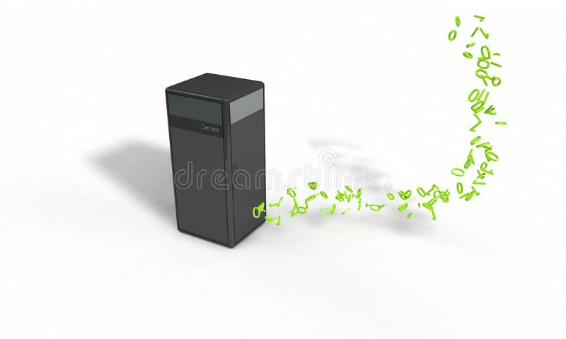 Serverdatenkonzept auf dem Weiß, 3d lizenzfreie abbildung