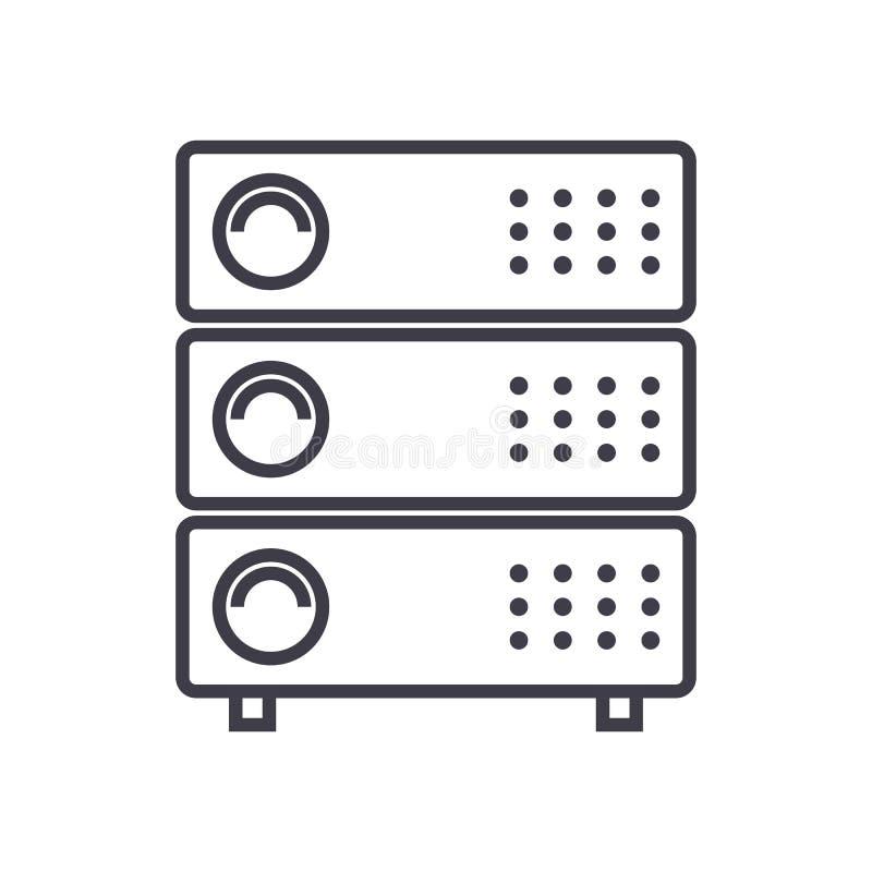 Serverillustrations-Vektorlinie Ikone, Zeichen, Illustration auf Hintergrund, editable Anschläge stock abbildung