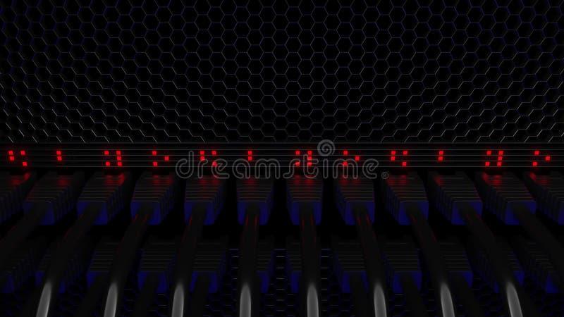 Serverkontaktdon och blinkande röd ljusdiod Anslutning, nätverk, molnteknologi, stora data eller e-kommers begrepp 3d royaltyfri illustrationer