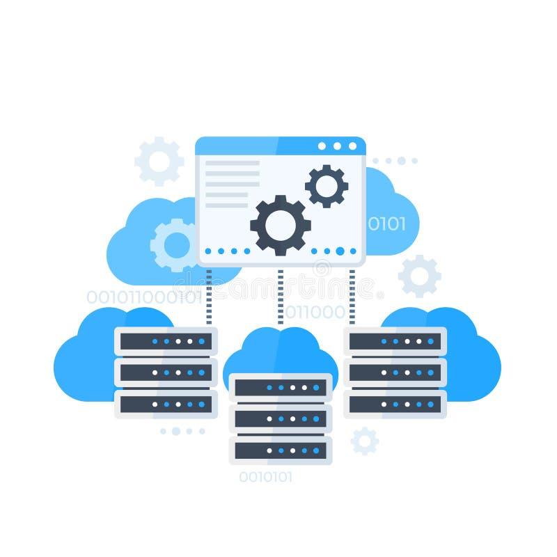 Serverkontrollbord som är värd programvaruvektorn stock illustrationer