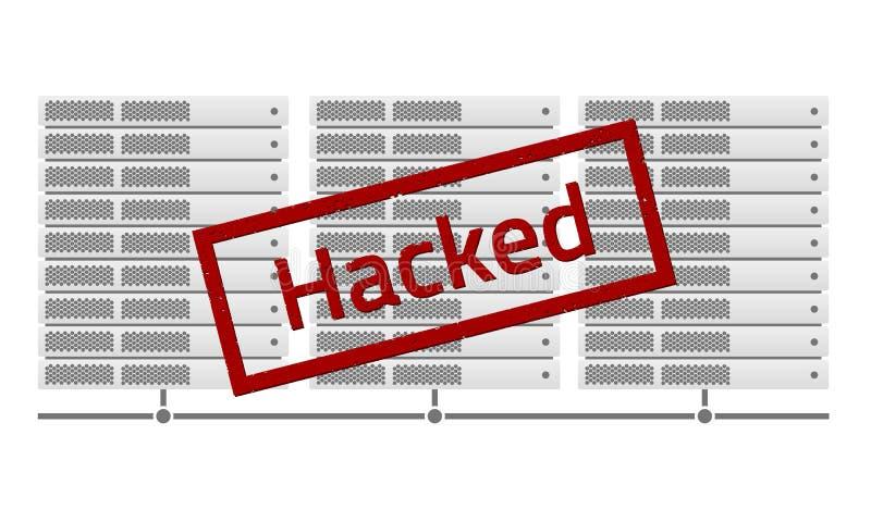 Serverkuggar Rött hackat stämpelmeddelande VirusErebus encryptor royaltyfri illustrationer