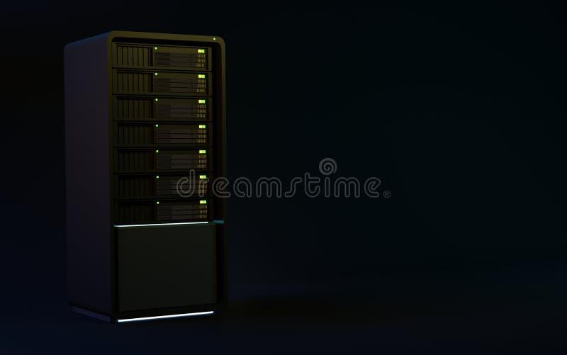 serveror 3d framför svart vektor illustrationer