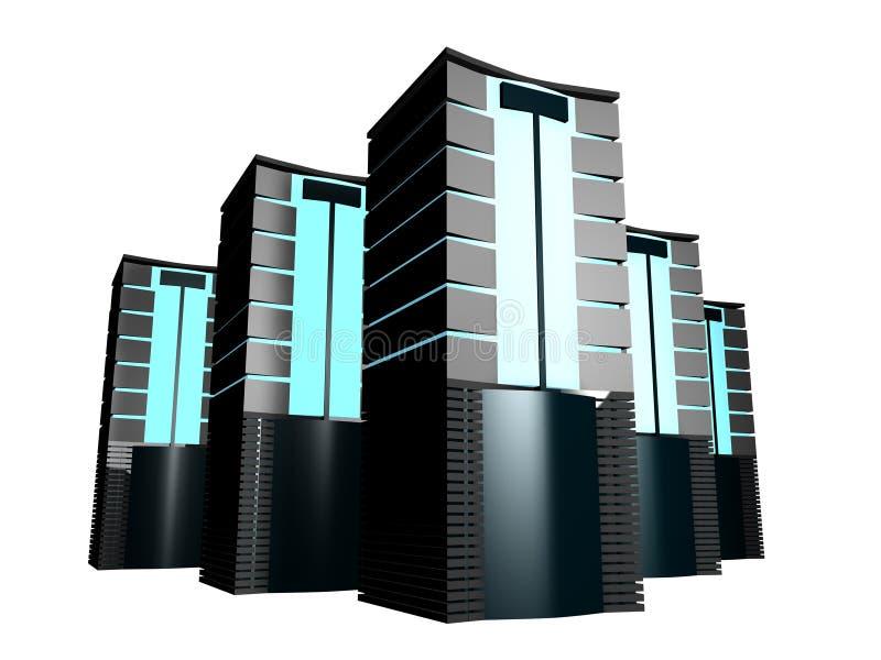 Download Serveror för grupp 3d stock illustrationer. Illustration av rengöringsduk - 277863