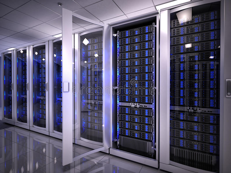 Serveror i datorhall vektor illustrationer