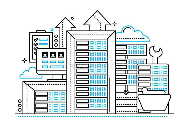 Serveror - linje designwebsitebaner royaltyfri illustrationer
