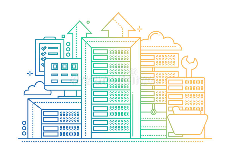 Serveror - linje designwebsitebaner vektor illustrationer