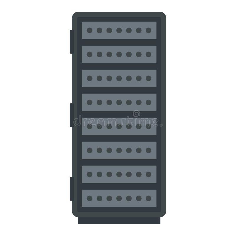 Serverrackpictogram, flatstijl stock illustratie