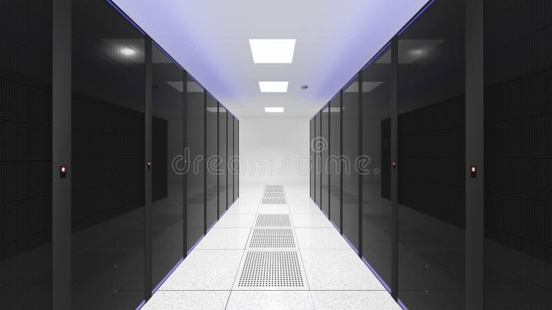 Serverraum Die Computer in einem Serverraum Schwarzweiss-Farbe vektor abbildung