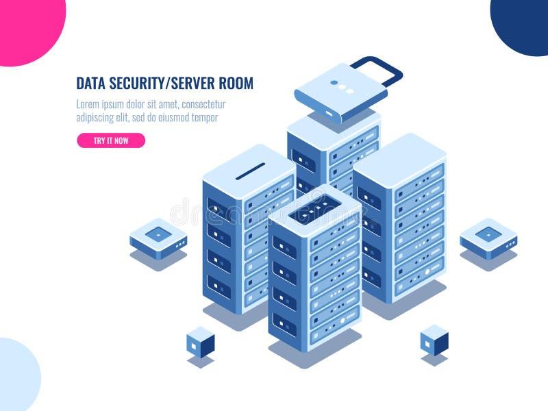 Serverraumkabinett, Rechenzentrum und isometrische Ikone der Datenbank, Servergestellbauernhof, blockchain Technologie, Web-Hosti vektor abbildung