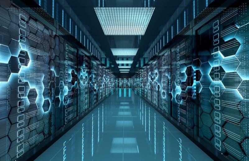 ServerRechenzentrumraum mit Computerspeichersystemen und sechseckiger Wiedergabe des Entwurfs 3D lizenzfreie abbildung