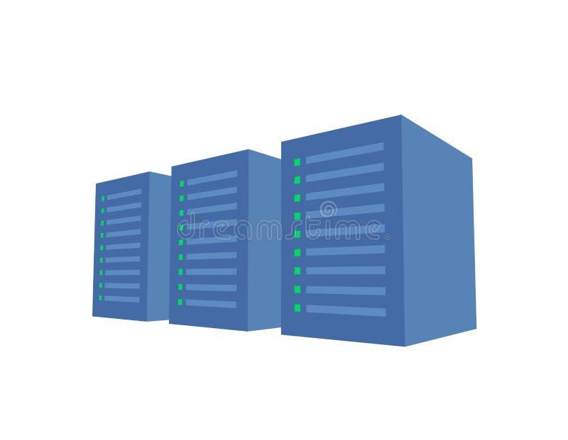 Serverrek met drie blauwe servers Serverlandbouwbedrijf, gegevenscentrum concepten vectorillustratie Geïsoleerdj op witte achterg vector illustratie