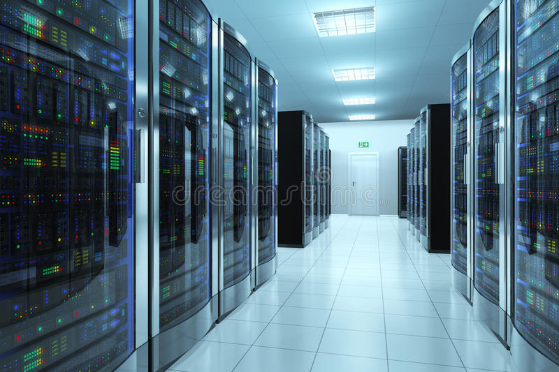 Serverruimte in datacenter stock illustratie