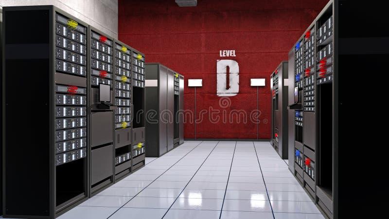 Serverrum, datorhallen med datorserveror i kuggar, lagring för data för datorlättheten, 3D framför royaltyfria bilder