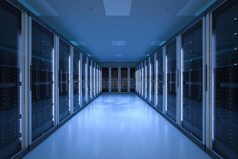 Serverrum eller serverdatorer royaltyfri foto
