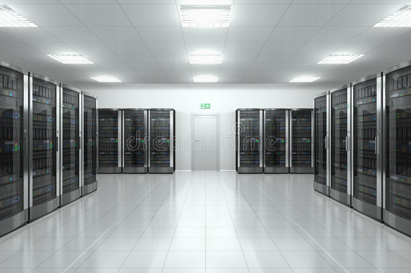 Serverrum i datacenter vektor illustrationer