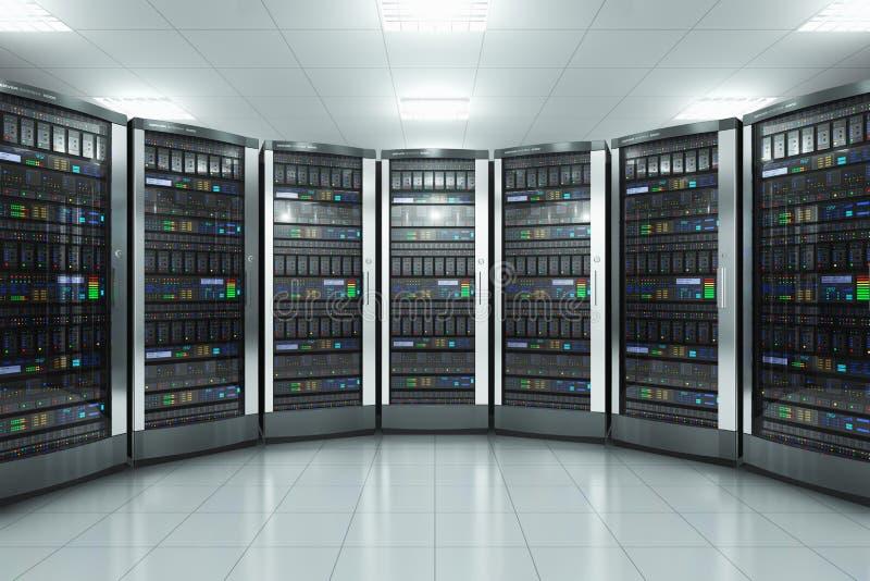 Serverrum i datacenter royaltyfri illustrationer