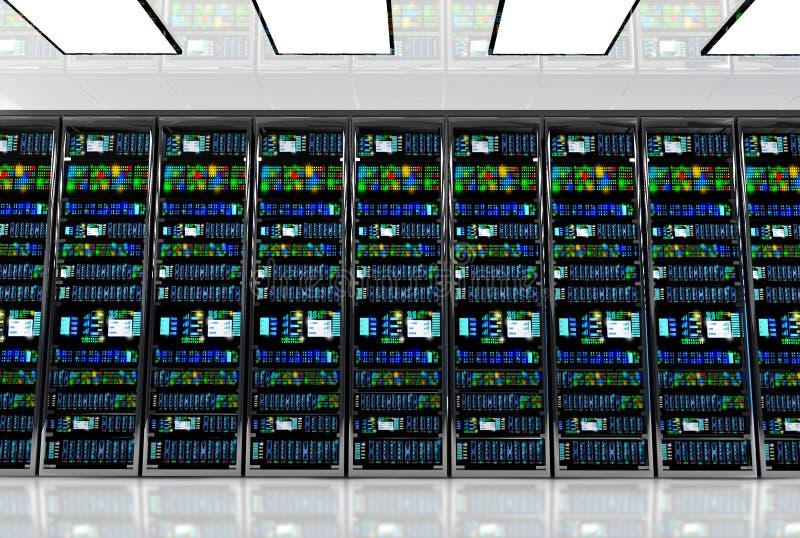 Serverrum i datacenter, rum som utrustas med dataserveror stock illustrationer