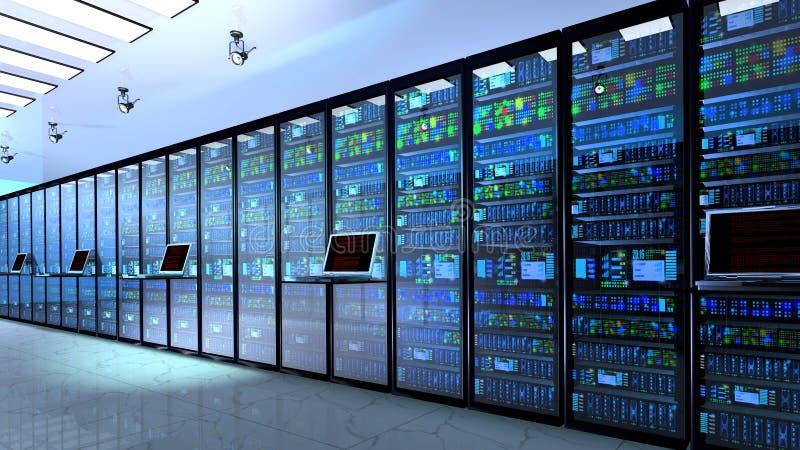 Serverrum i datacenter, rum som utrustas med dataserveror royaltyfri fotografi