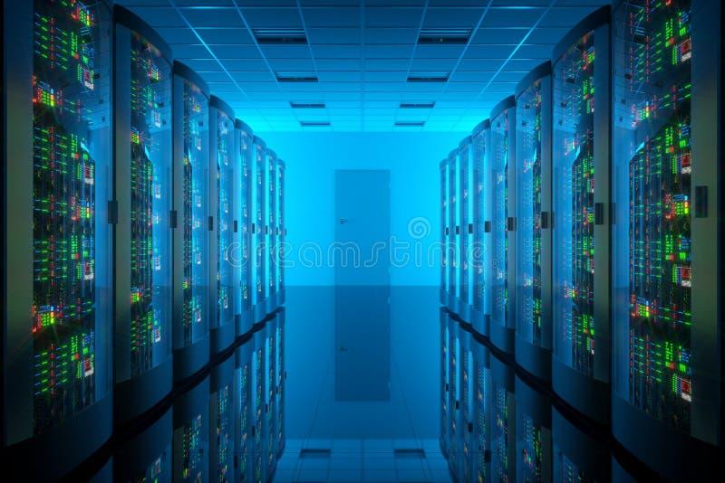 Serverrum i datorhall stock illustrationer