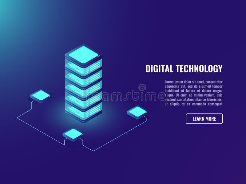 Serverrum och data fördunklar lagringsbegreppet som tänder teknologiadstractobjekt, databas, datacenterneonmörker vektor illustrationer