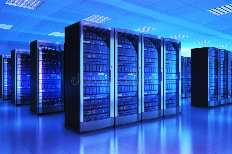 Serverruminre i datacenter vektor illustrationer