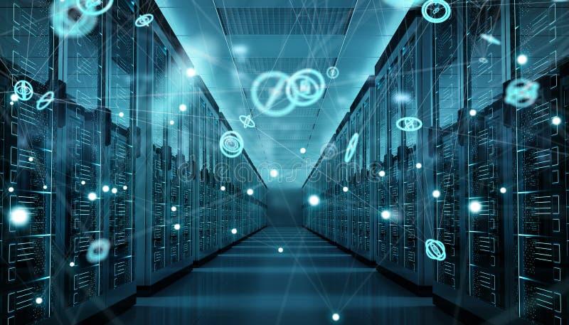 Serverrummitt som utbyter tolkningen för cyberdata 3D stock illustrationer