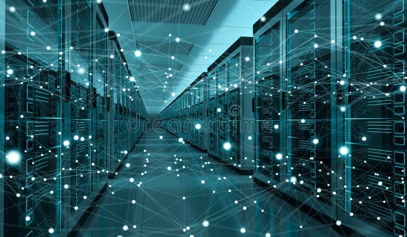 Serverrummitt som utbyter tolkningen för cyberdata 3D vektor illustrationer
