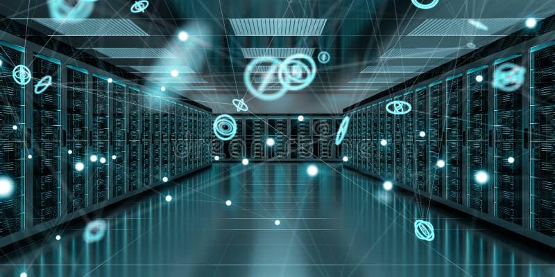 Serverrummitt som utbyter tolkningen för cyberdata 3D royaltyfri illustrationer