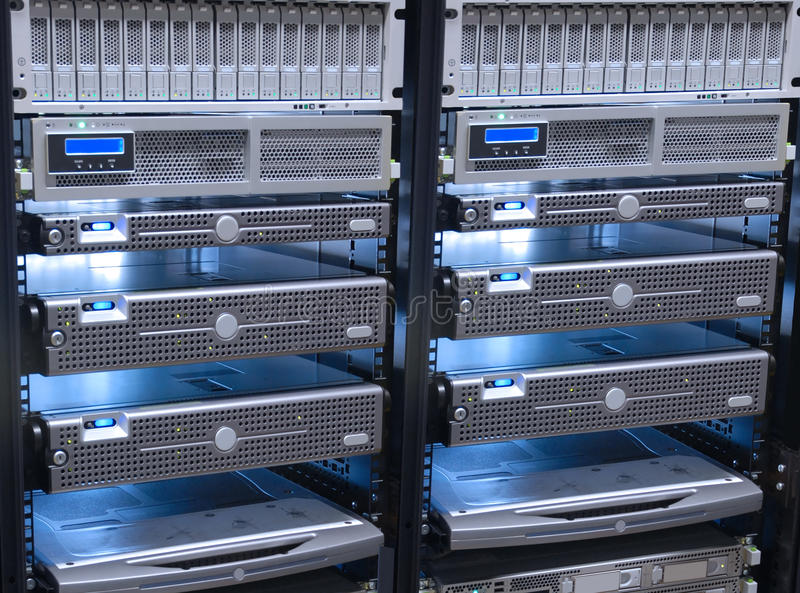 Servers. Rack ,web hosting concept royalty free stock photo