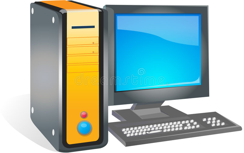 Servers. A desktop personal computer with crt monitor royalty free illustration