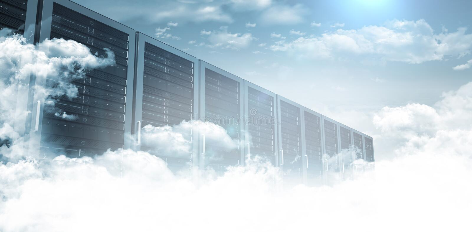 Servers in the clouds vector illustration