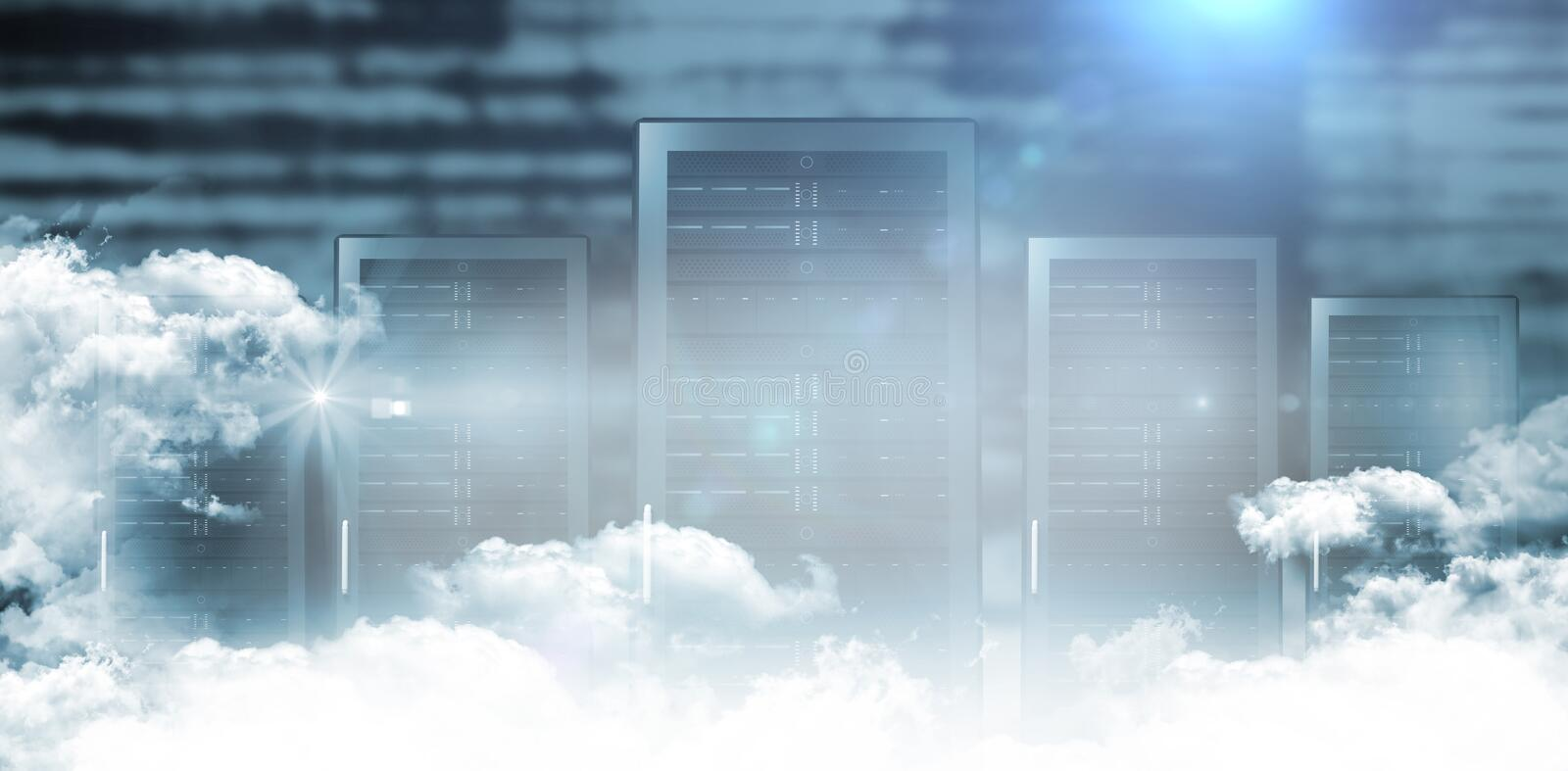 Servers in the clouds stock illustration