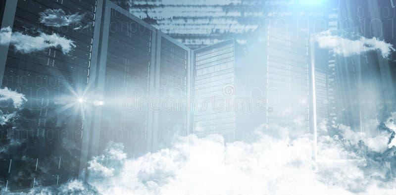 Servers in de wolken royalty-vrije illustratie