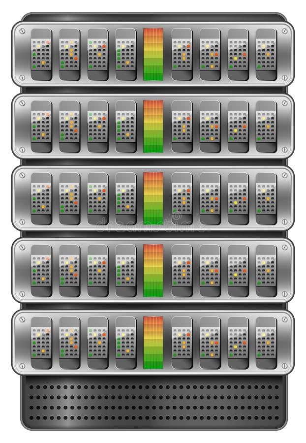 Servers die in rek worden geïnstalleerd stock illustratie