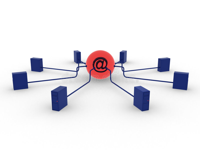 Servers and email stock illustration